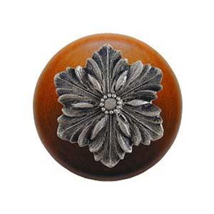 Cherry Wood Opulent Flower Knob with Satin Nickel