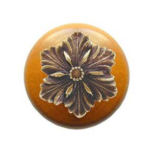 Maple Opulent Flower Knob with Antique Brass