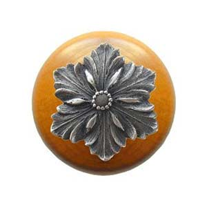 Maple Opulent Flower Knob with Antique Pewter