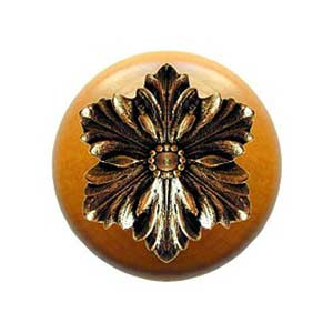 Maple Opulent Flower Knob with Brite Brass