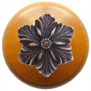 Maple Opulent Flower Knob with Antique Bronze