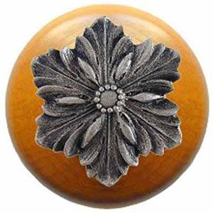 Maple Opulent Flower Knob with Satin Nickel