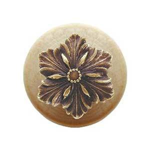 Natural Wood Opulent Flower Knob with Antique Brass