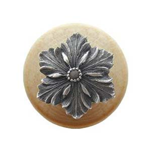 Natural Wood Opulent Flower Knob with Antique Pewter