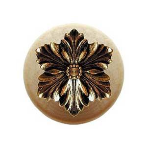 Natural Wood Opulent Flower Knob with Brite Brass