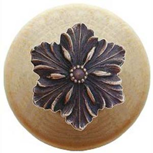 Natural Wood Opulent Flower Knob with Antique Bronze