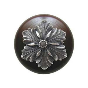 Dark Walnut Opulent Flower Knob with Antique Pewter