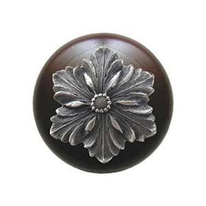 Dark Walnut Opulent Flower Knob with Antique Pewter