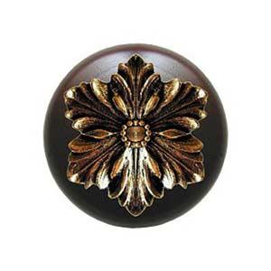 Dark Walnut Opulent Flower Knob with Brite Brass