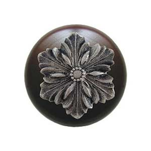 Dark Walnut Opulent Flower Knob with Satin Nickel