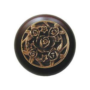 Dark Walnut Saratoga Rose Knob with Brass