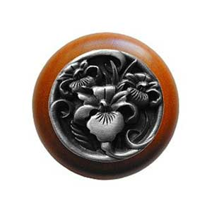 Cherry Wood River Iris Knob with Antique Pewter