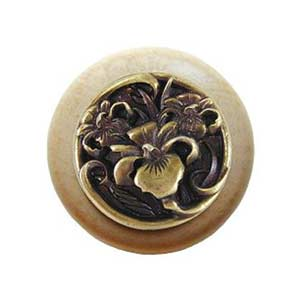 Natural Wood River Iris Knob with Antique Brass