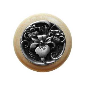 Natural Wood River Iris Knob with Antique Pewter
