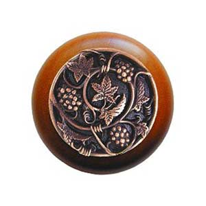 Cherry Wood Grapevines Knob with Antique Copper