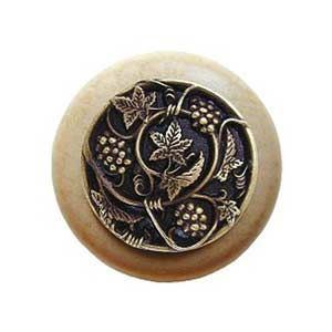 Natural Wood Grapevines Knob with Antique Brass
