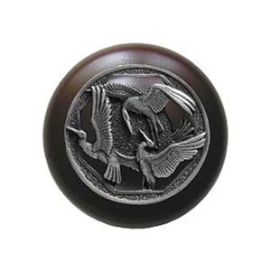 Dark Walnut Crane Dance Knob with Pewter