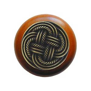 Cherry Wood Classic Weave Knob with Antique Brass