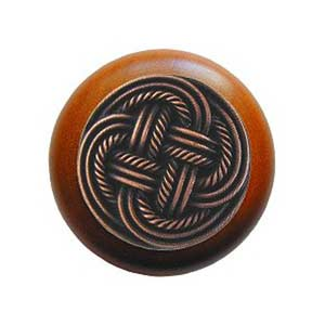 Cherry Wood Classic Weave Knob with Antique Copper