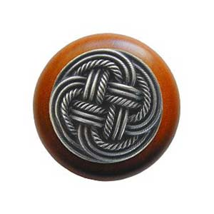 Cherry Wood Classic Weave Knob with Antique Pewter
