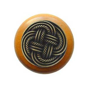Maple Classic Weave Knob with Antique Brass