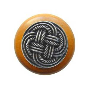 Maple Classic Weave Knob with Antique Pewter