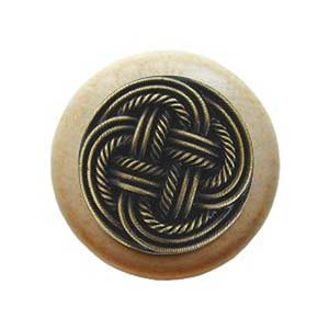 Natural Wood Classic Weave Knob with Antique Brass