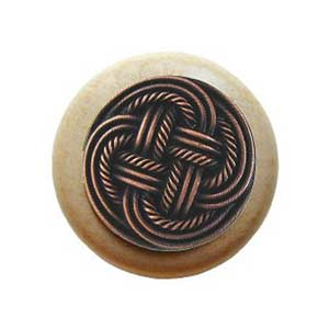 Natural Wood Classic Weave Knob with Antique Copper