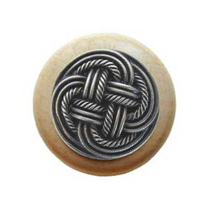 Natural Wood Classic Weave Knob with Antique Pewter