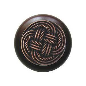 Dark Walnut Classic Weave Knob with Antique Copper