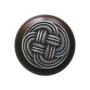 Dark Walnut Classic Weave Knob with Antique Pewter