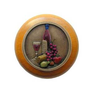 Maple Best Cellar Knob with Hand Tinted Brass
