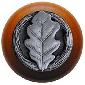 Cherry Wood with Antique Pewter Oak Leaf Knob