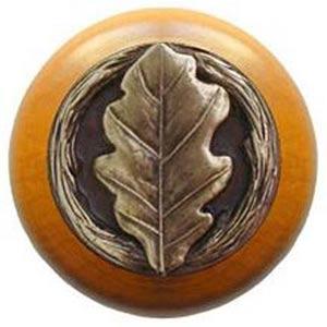 Maple with Antique Brass Oak Leaf Knob