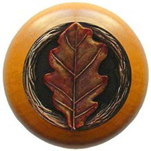 Maple with Hand Tinted Brass Oak Leaf Knob