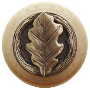 Natural Wood with Antique Brass Oak Leaf Knob