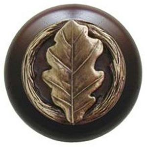 Dark Walnut with Antique Brass Oak Leaf Knob