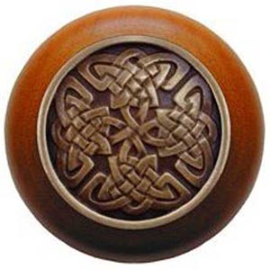Cherry Wood with Antique Brass Celtic Isles Knob