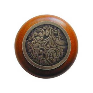 Cherry Wood Saddleworth Knob with Antique Brass