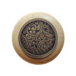 Natural Wood Saddleworth Knob with Antique Brass