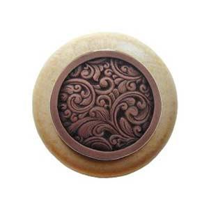 Natural Wood Saddleworth Knob with Antique Copper