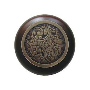 Dark Walnut Saddleworth Knob with Antique Brass