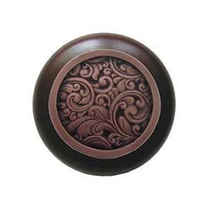 Dark Walnut Saddleworth Knob with Antique Copper