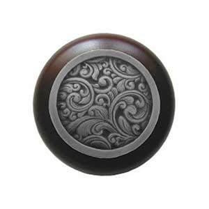 Dark Walnut Saddleworth Knob with Antique Pewter