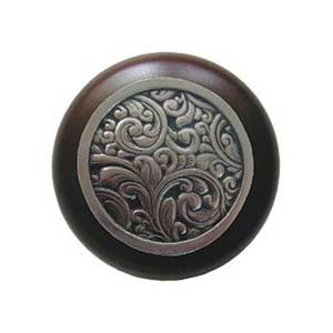 Dark Walnut Saddleworth Knob with Brite Nickel