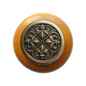 Maple Fleur-de-Lis Knob with Antique Brass