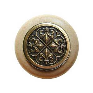 Natural Wood Fleur-de-Lis Knob with Antique Brass