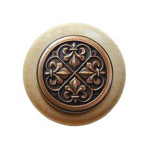 Natural Wood Fleur-de-Lis Knob with Antique Copper