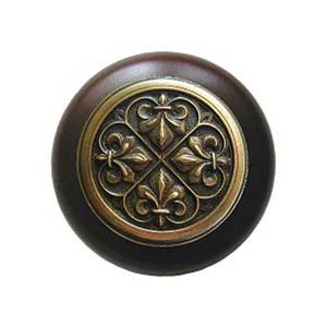 Dark Walnut Wood Fleur-de-Lis Knob with Antique Brass