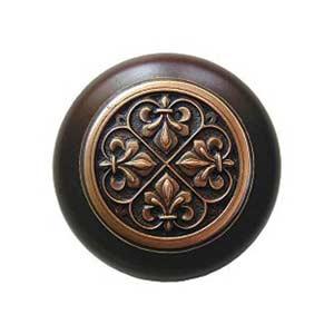Dark Walnut Wood Fleur-de-Lis Knob with Antique Copper
